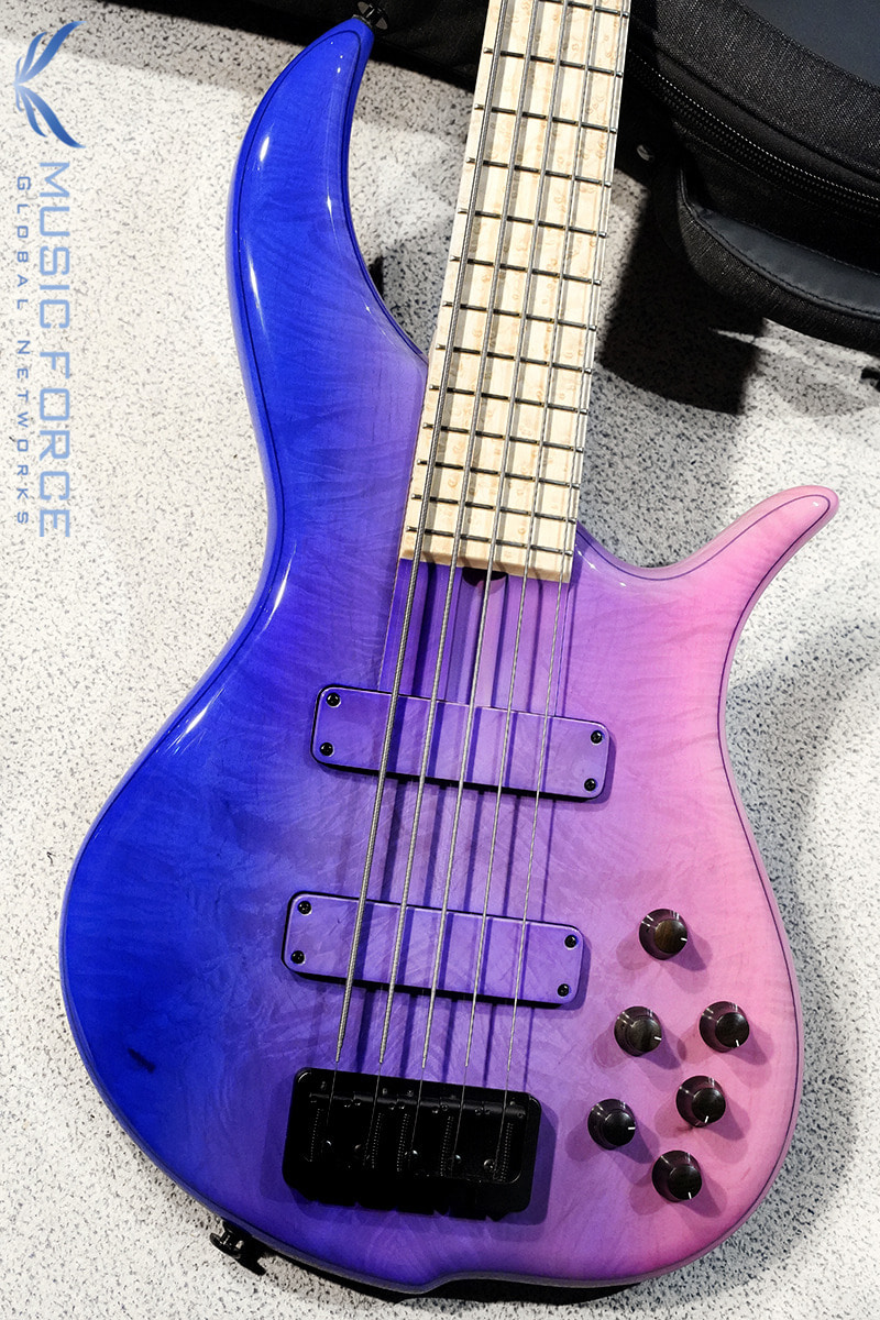 F-Bass BN5 Crushed Figurd Maple Top-Neon Pink Fade Gloss w/Birdseye Maple FB & Black HW(신품)